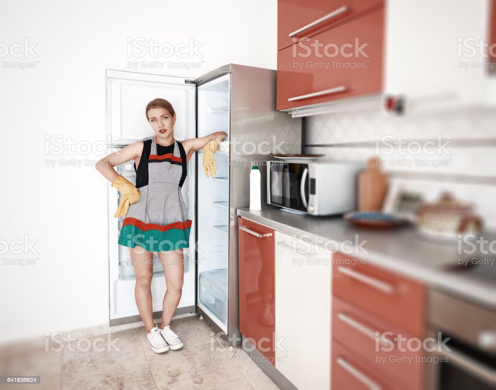 domestic work inside the kitchen stock photo