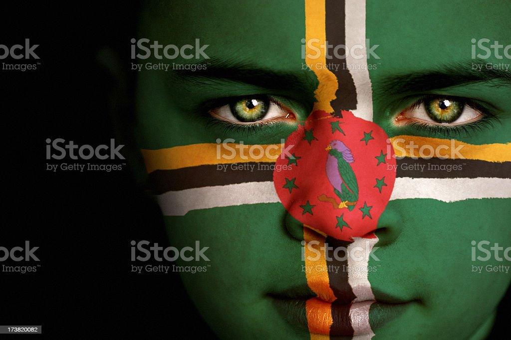 Dominica flag boy stock photo