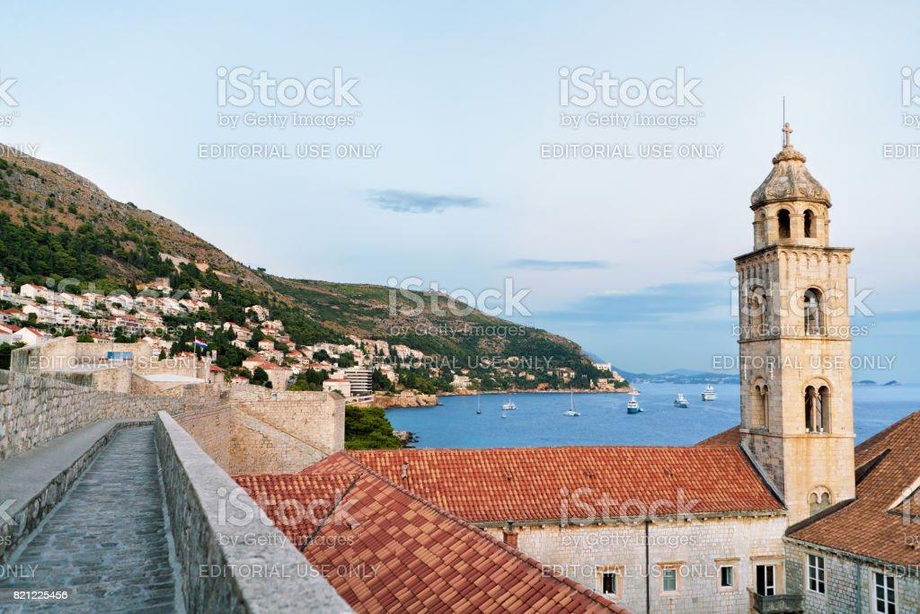 Dominican monastery and Adriatic Sea in Dubrovnik stock photo
