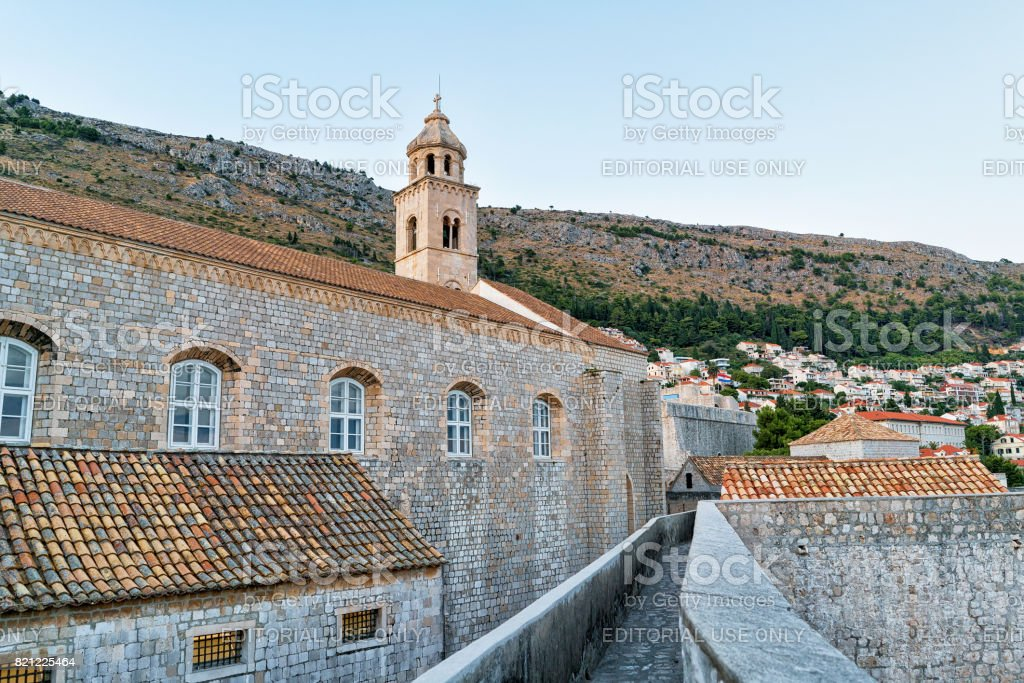 Dominican monastery belfry in Old city with in Dubrovnik stock photo