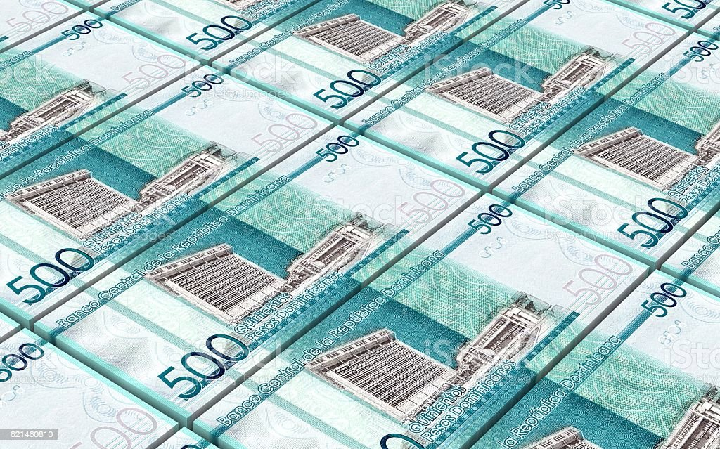 Dominican peso bills stacks background. stock photo