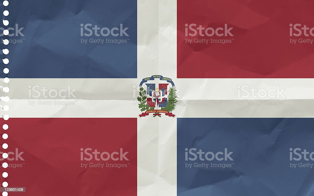 Dominican Republic, Flag on a piece of paper stock photo