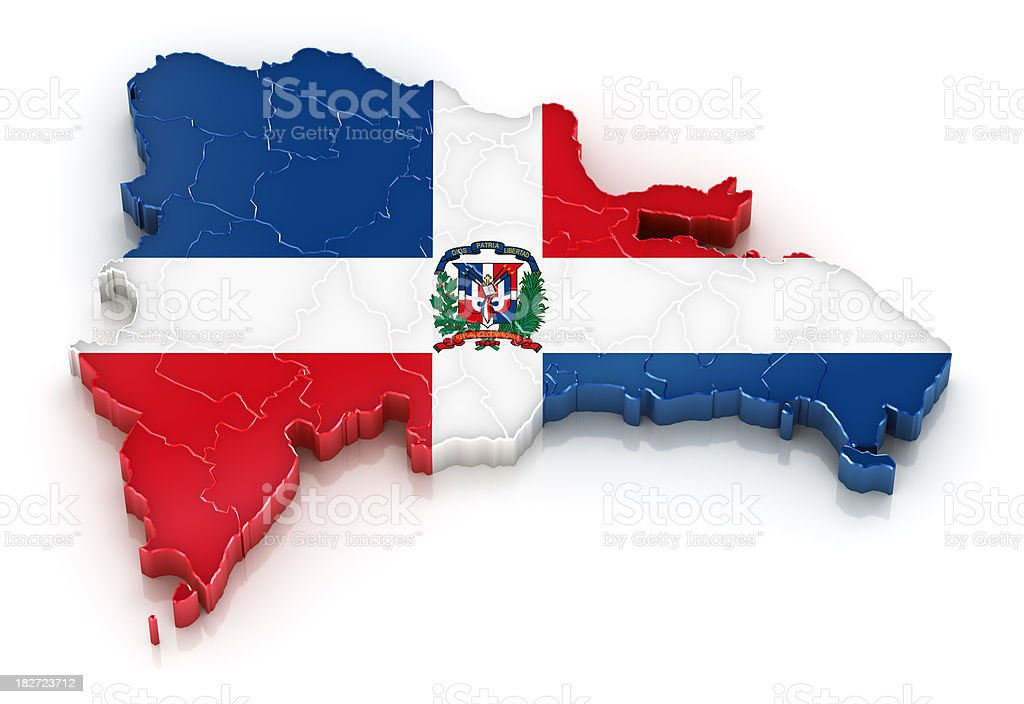 Dominican Republic map with flag stock photo