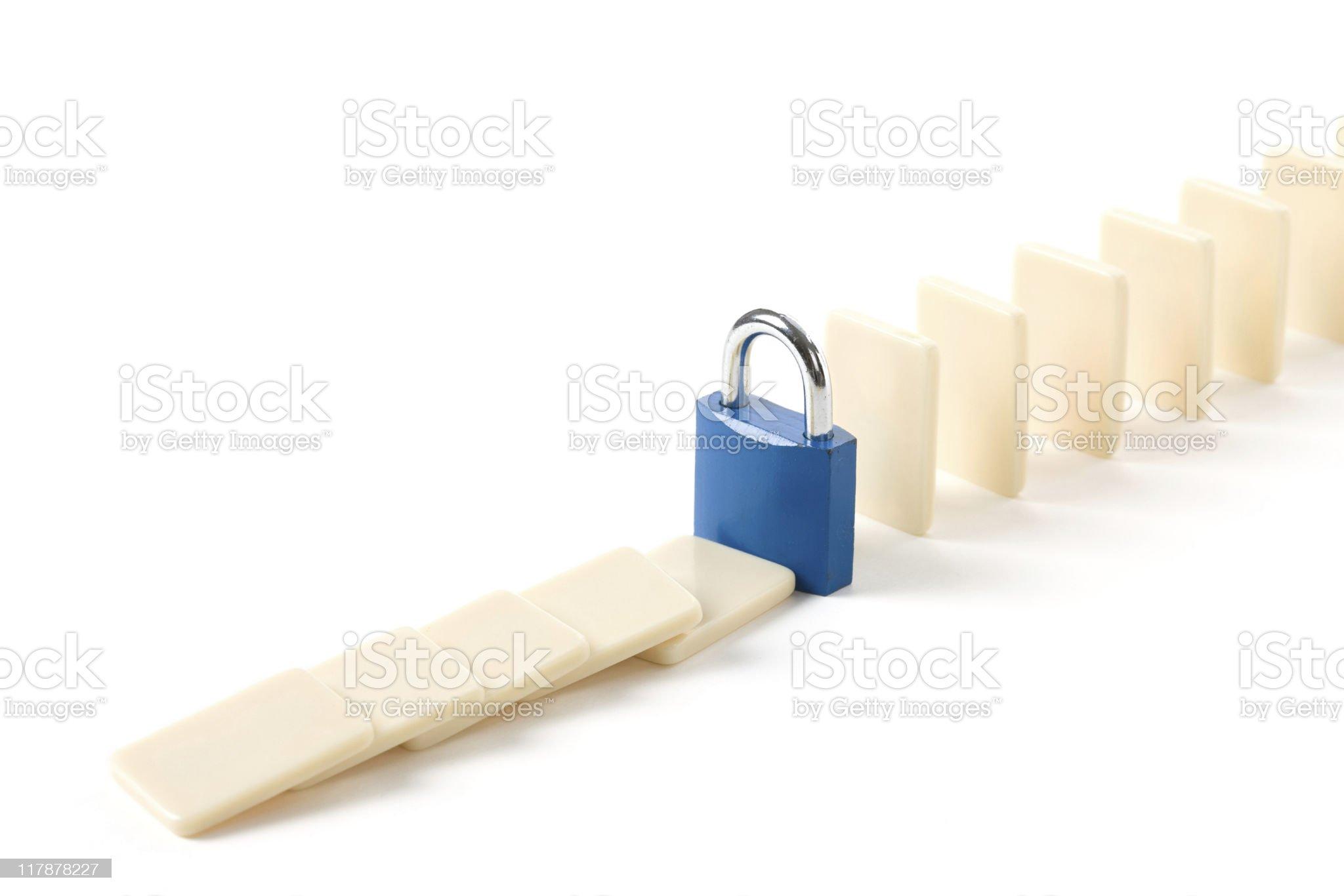 Domino and Lock royalty-free stock photo