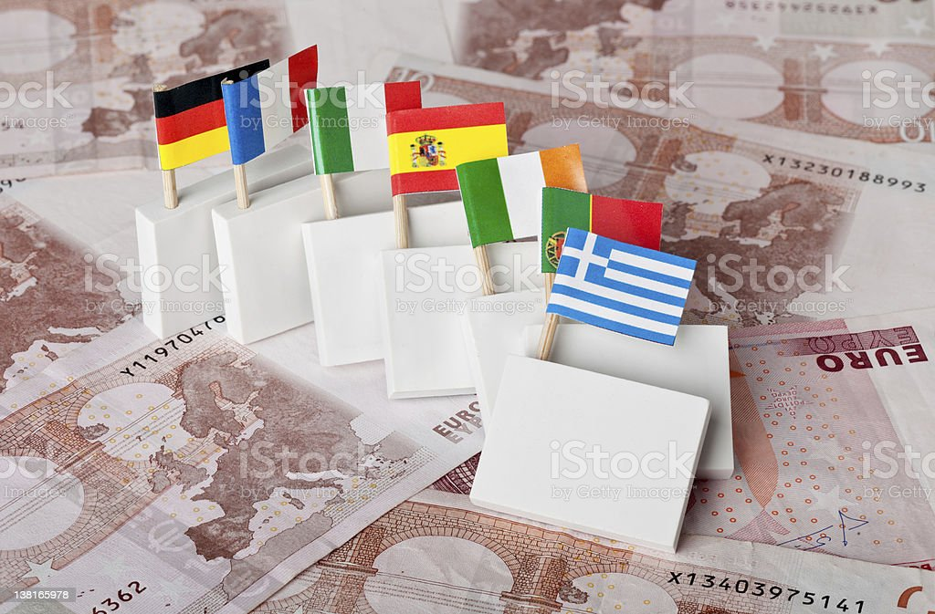 Domino effect of Euro debt crisis stock photo