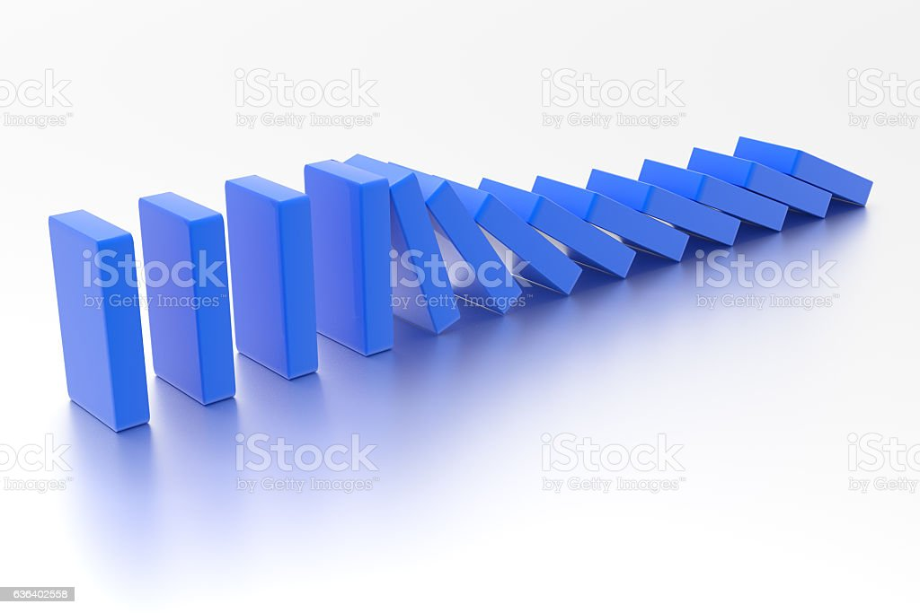 Domino. Falling boxes stock photo