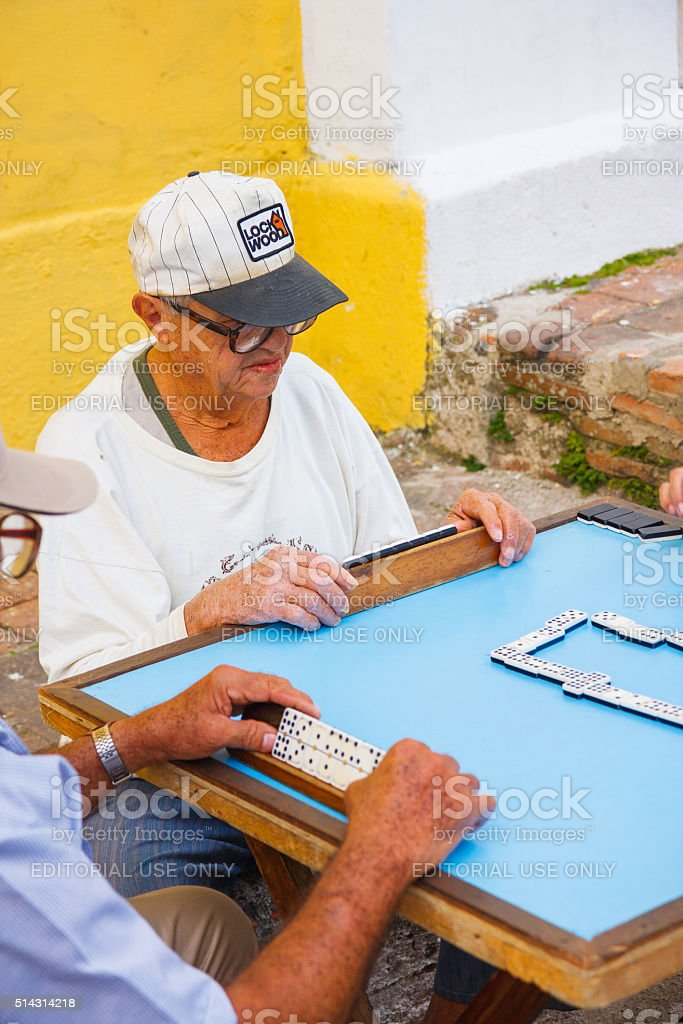 Domino playing in Camaguey, Cuba stock photo