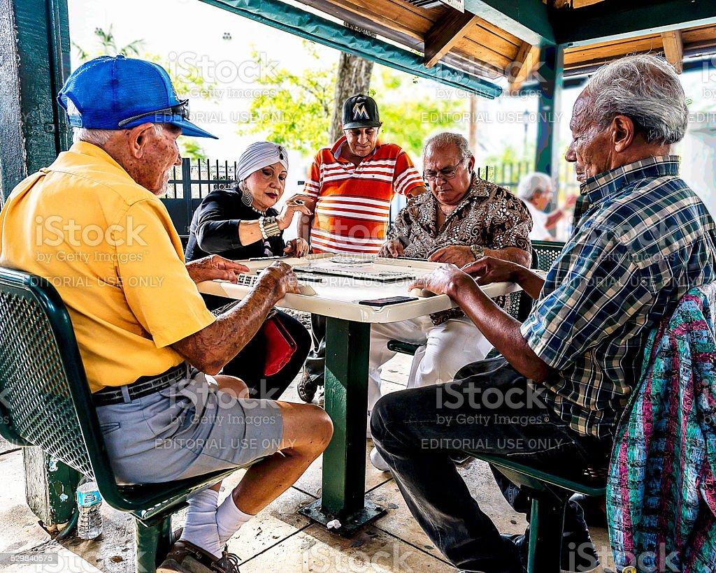 Dominoes at Domino Park in Miami Little Havana stock photo