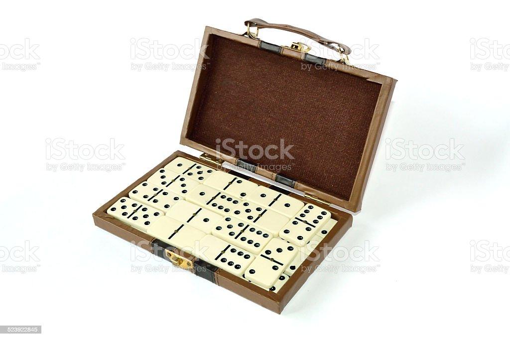 Dominoes box stock photo