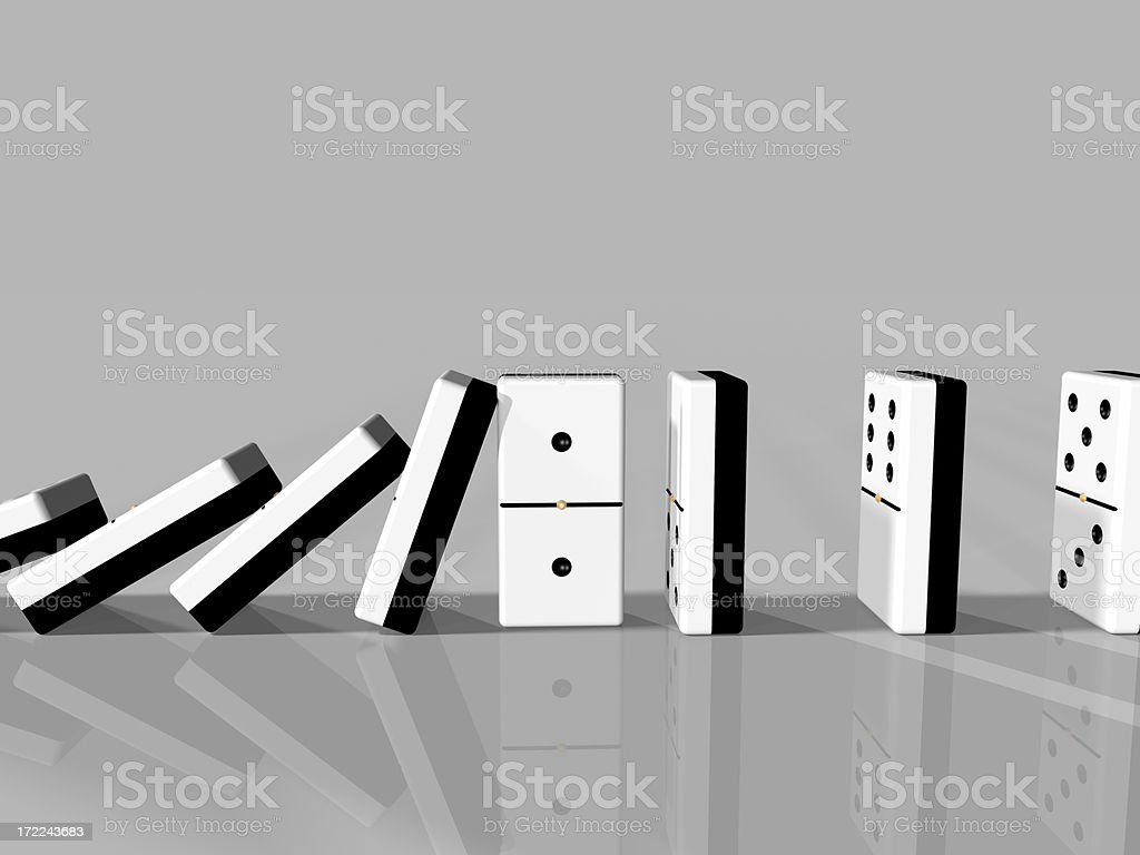 Dominoes Caught royalty-free stock photo