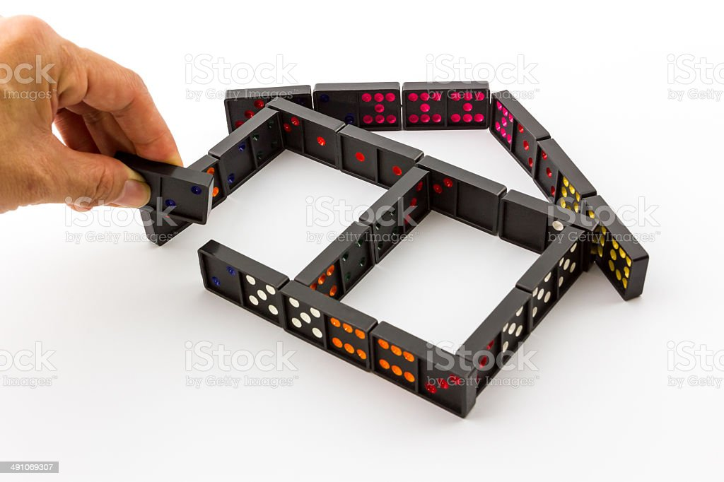 Dominoes in House Shape. royalty-free stock photo