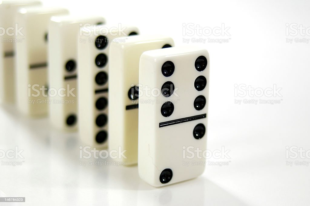 Dominos in a Row stock photo