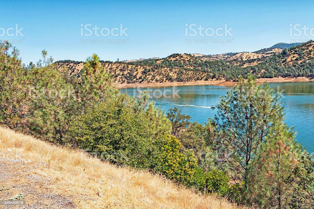 Don Pedro Lake and Boat with Water Skier from Above stock photo