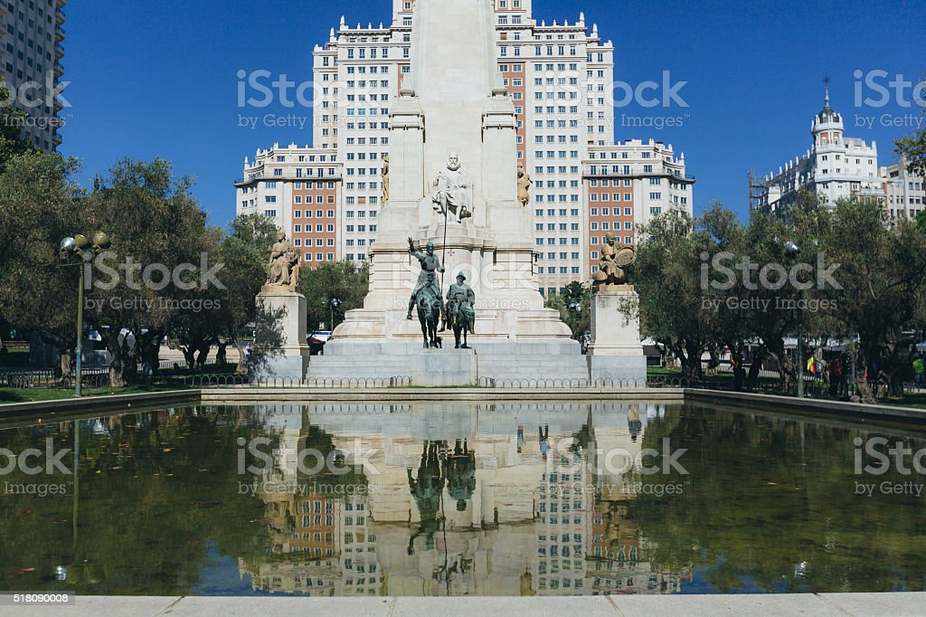 Don Quijote and Cervantes Monument in Madrid stock photo