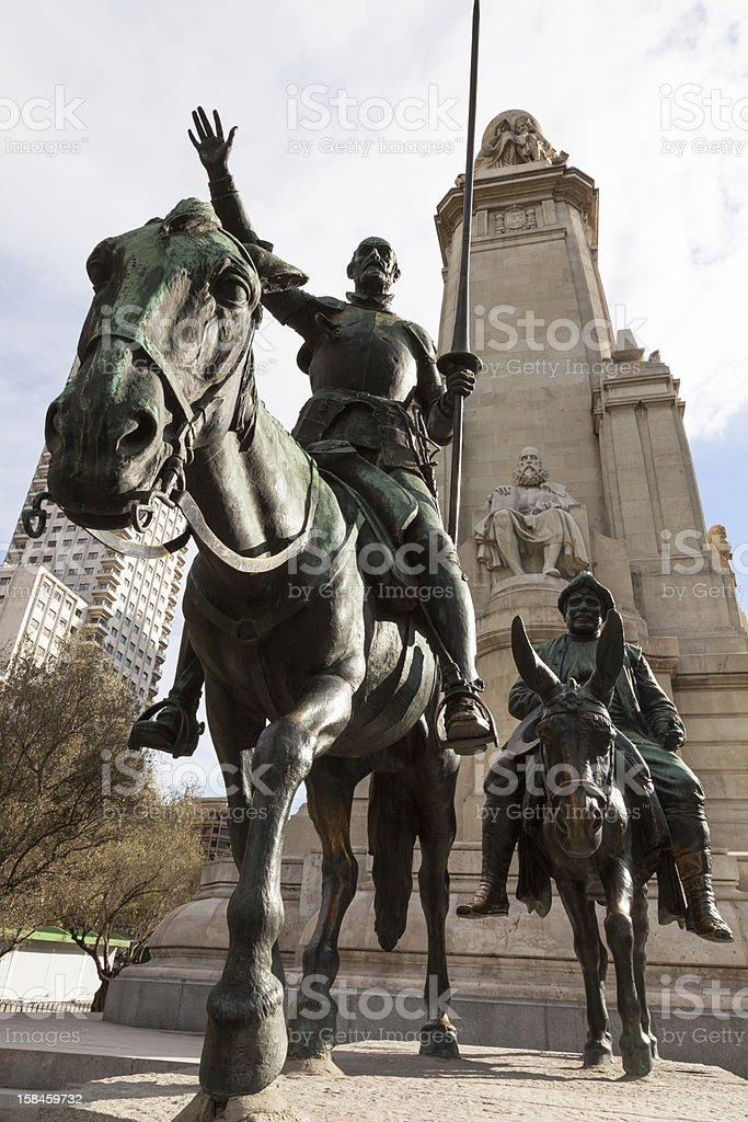 Don Quijote and Cervantes Monument stock photo