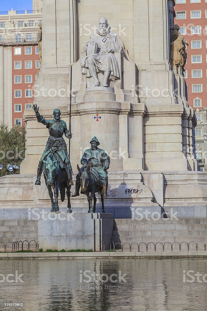 Don Quixote and Sancho Panza monument with Cervantes royalty-free stock photo