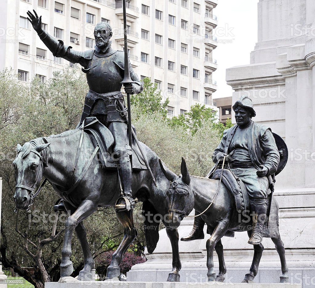 Don Quixote and Sancho Panza stock photo
