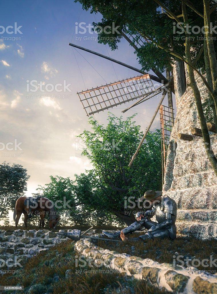 Don Quixote and windmill conception illustration 3d composition stock photo