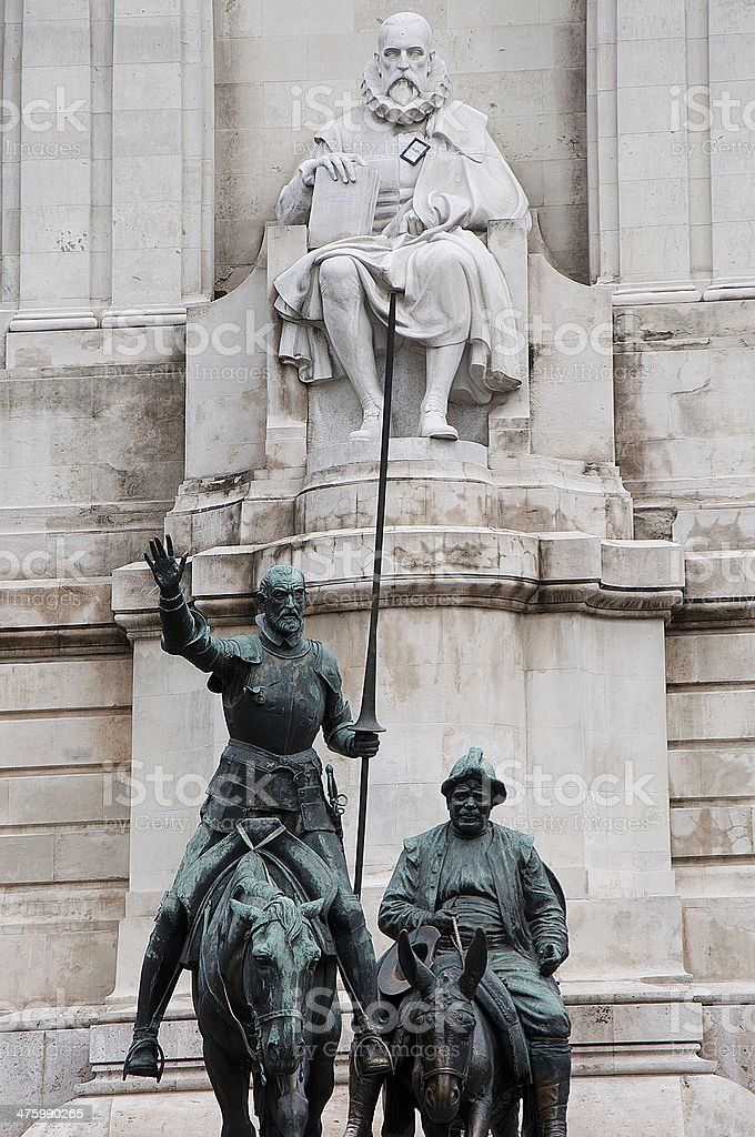 Don Quixote, Sancho Panza and Cervantes stock photo