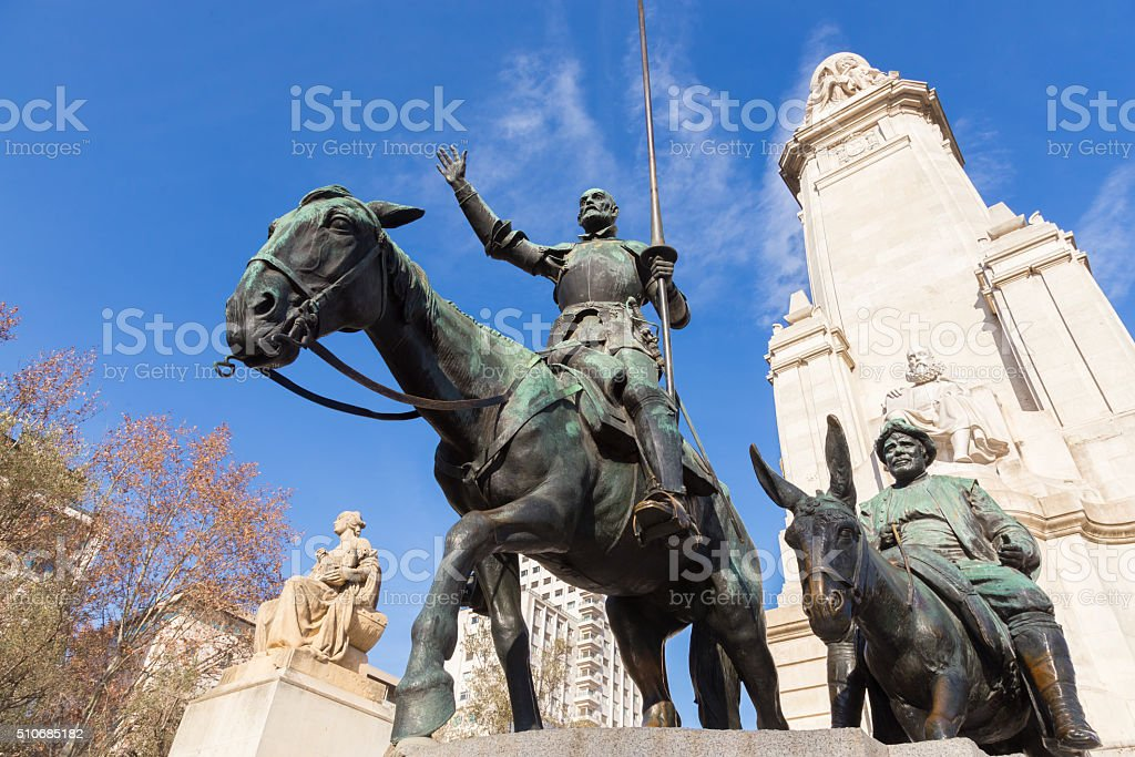 Don Quixote statue on Square of Spain in Madrid. stock photo