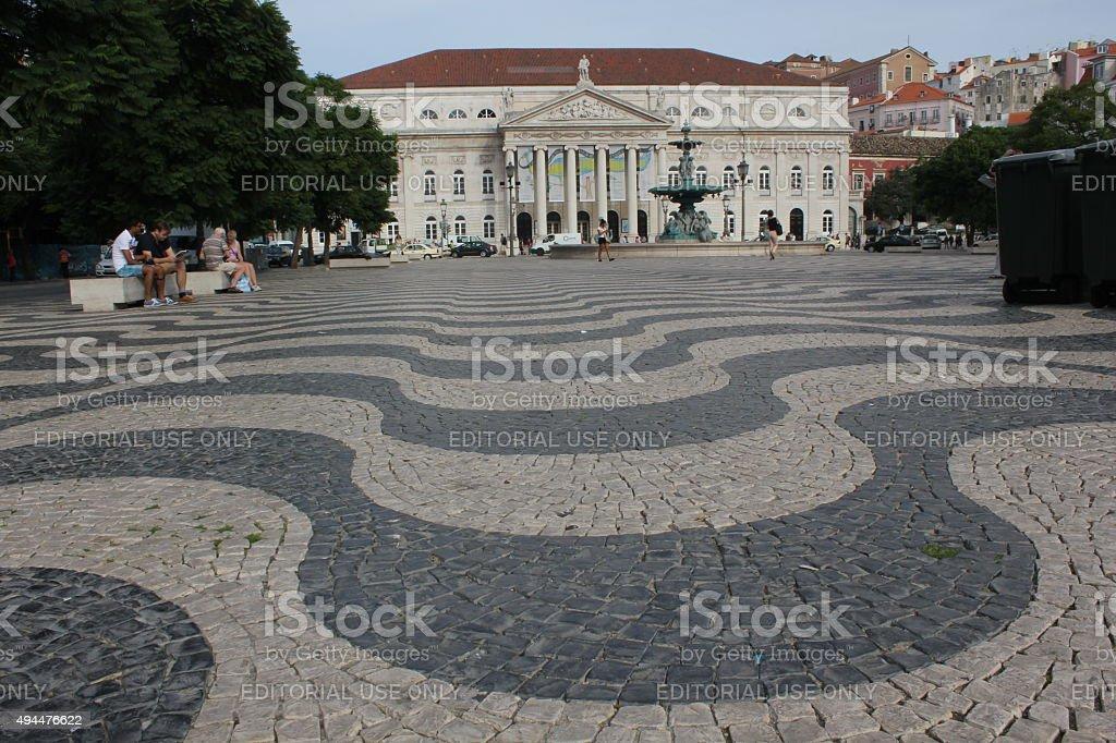 Dona Maria Teathre in Rossio square in Lisbon stock photo
