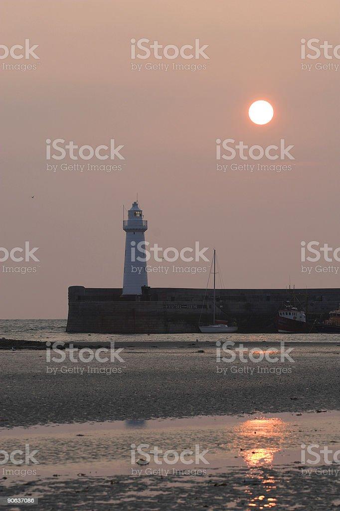 Donaghadee Lighhouse at dawn, Northern Ireland royalty-free stock photo