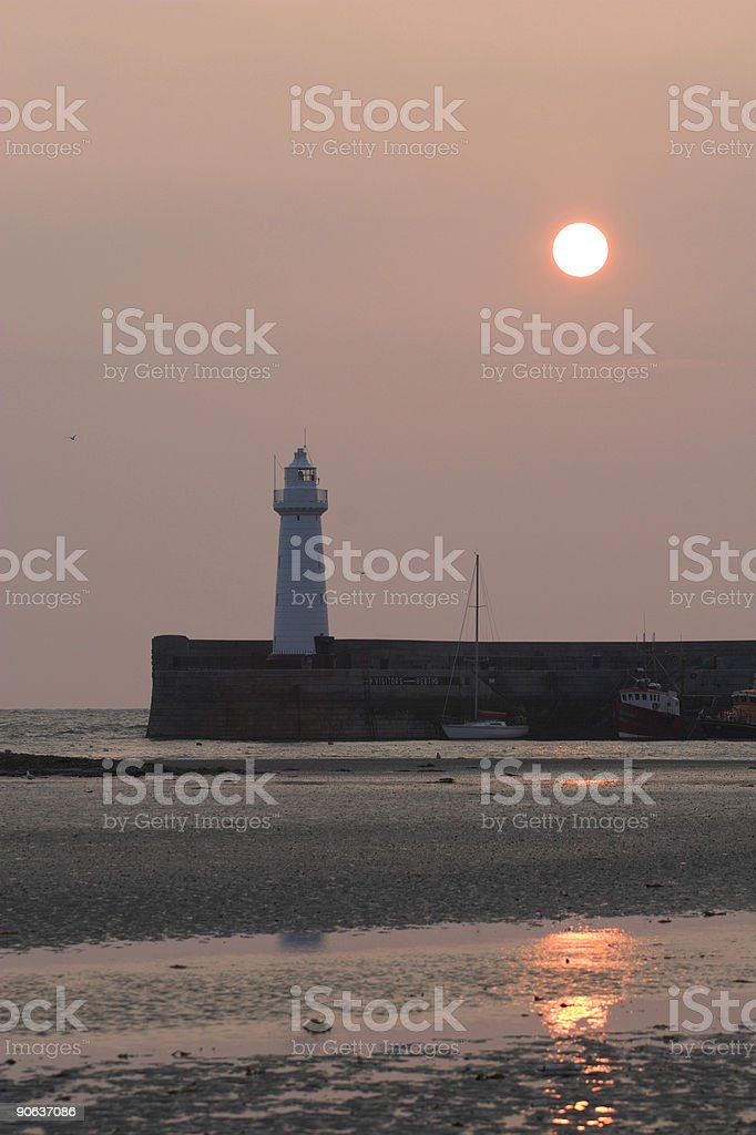 Donaghadee Lighhouse at dawn, Northern Ireland stock photo