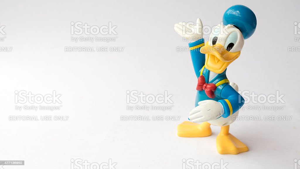Donald Duck from Mickey Mouse and friends cartoon animation stock photo