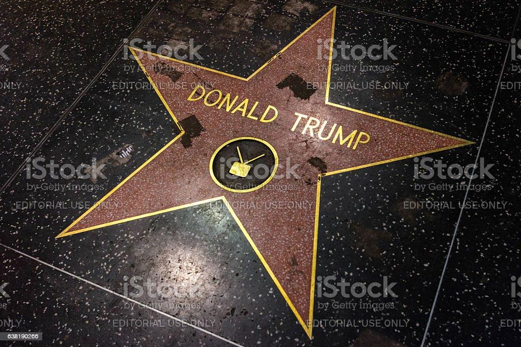 Donald Trump Star vandalized at Walk of Fame. stock photo