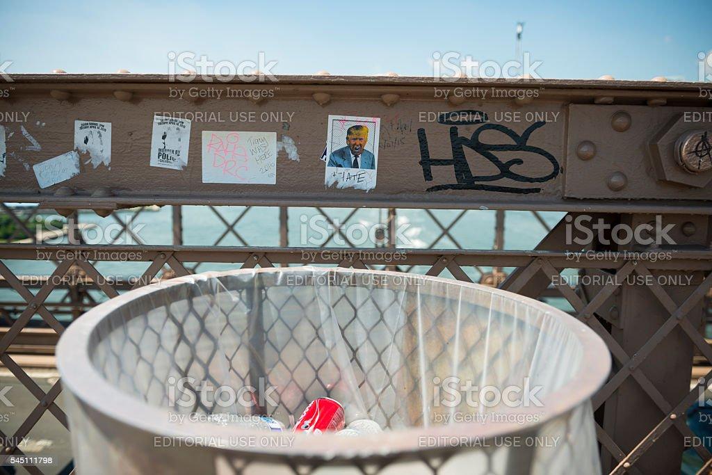 Donald Trump sticker on Brooklyn Bridge stock photo