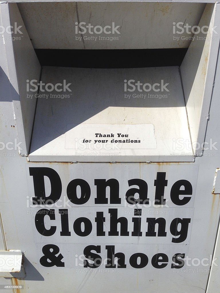 Donate clothing and shoes drop box charity stock photo