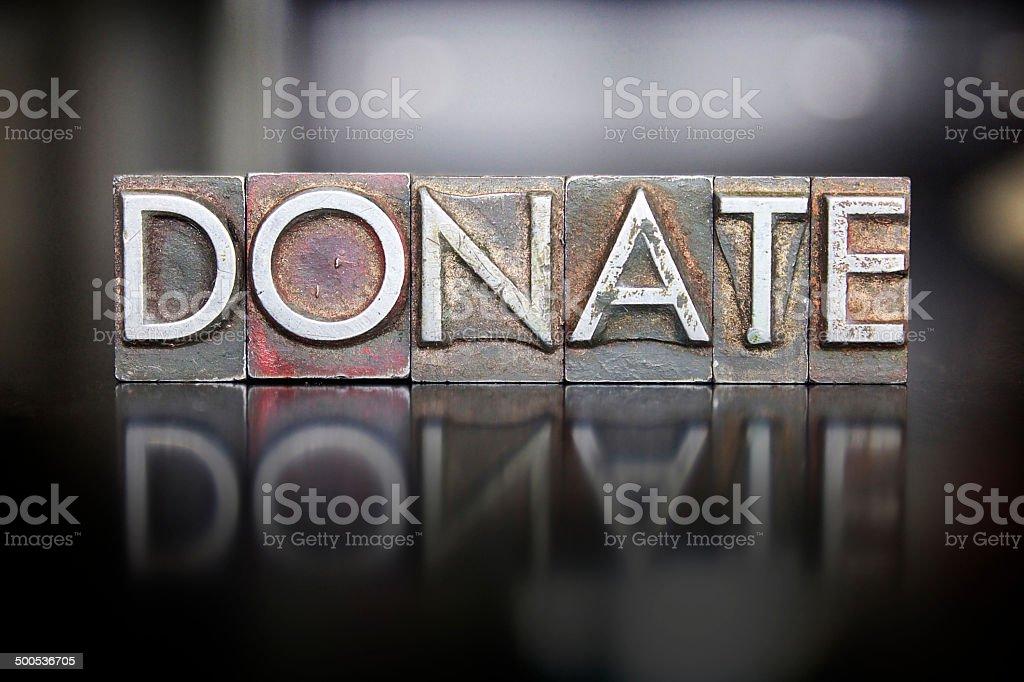 Donate Letterpress stock photo