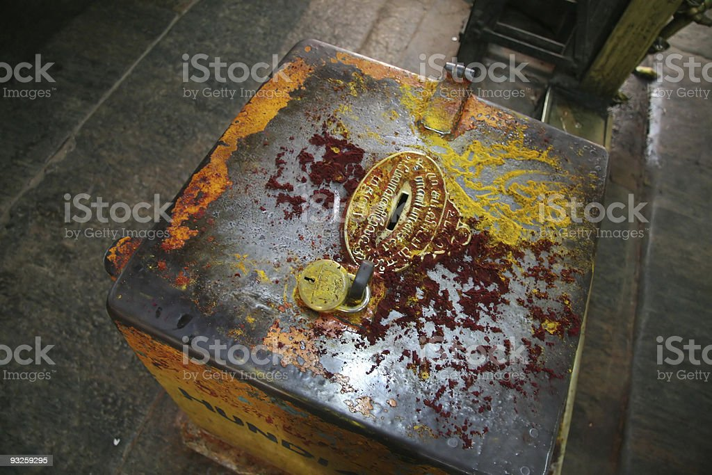 Donation box in Hindu temple royalty-free stock photo