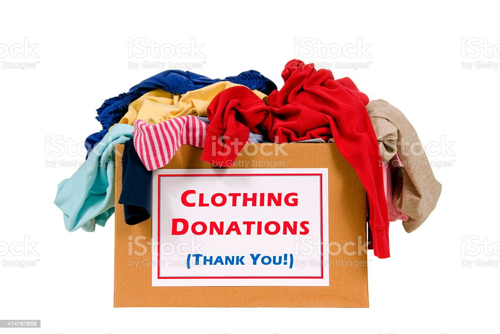 Donation Box Of Clothes Isolated stock photo