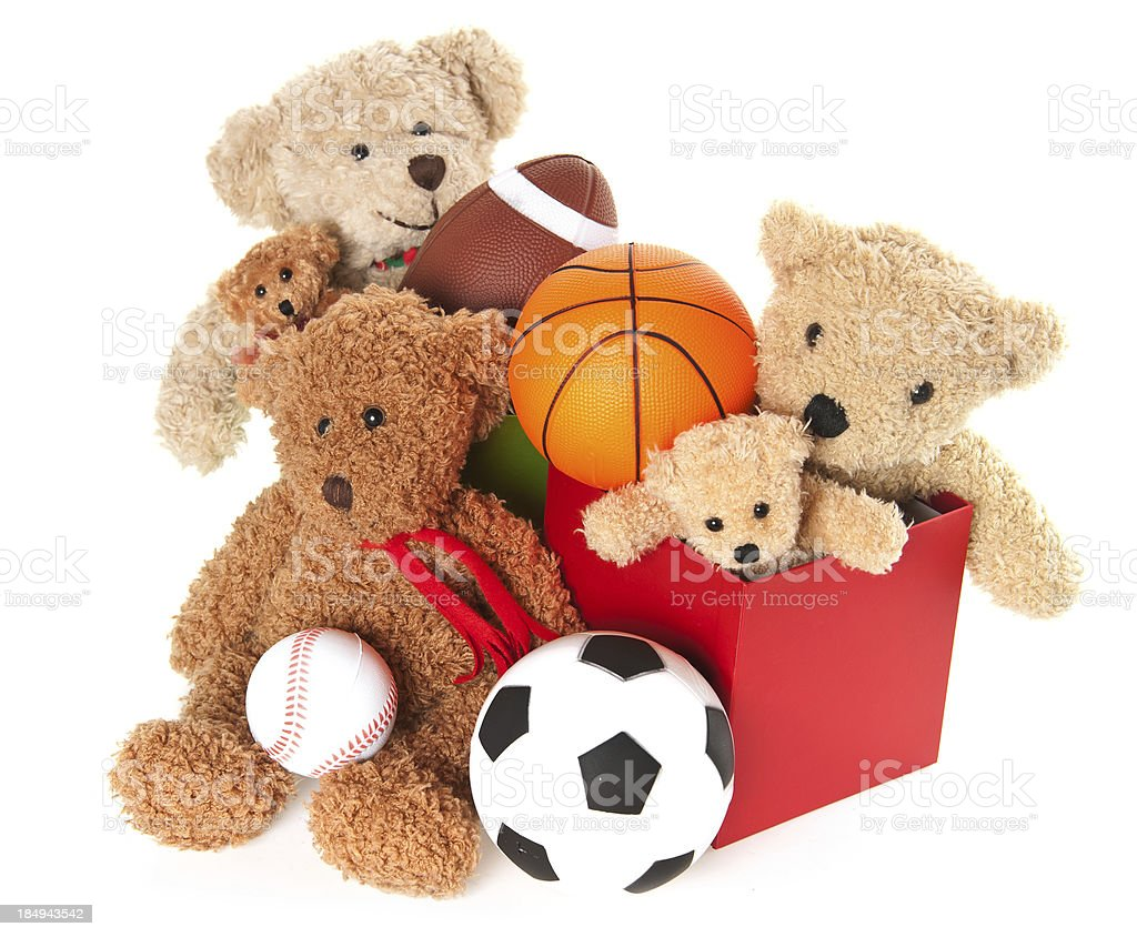 Donation Box with Teddy Bear, Balls and Toys royalty-free stock photo