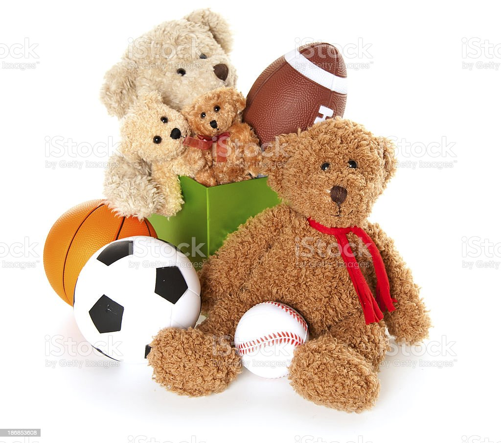 Donation Box with Teddy Bear, Balls and Toys stock photo
