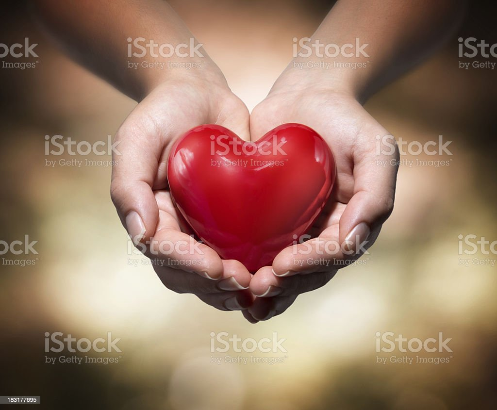 donation of life - red heart stock photo