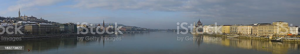 Donau Panorama in Budapest with hungarian parliament stock photo