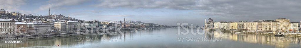 HDR Donau Panorama in Budapest with hungarian parliament stock photo