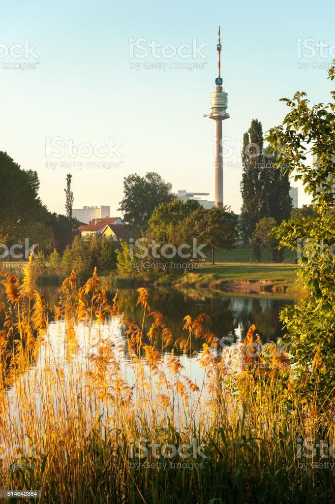 Donauturm and Alte Donau stock photo