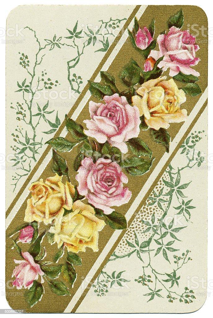 Dondorf Baronesse card back design roses on diagonal 1900 stock photo