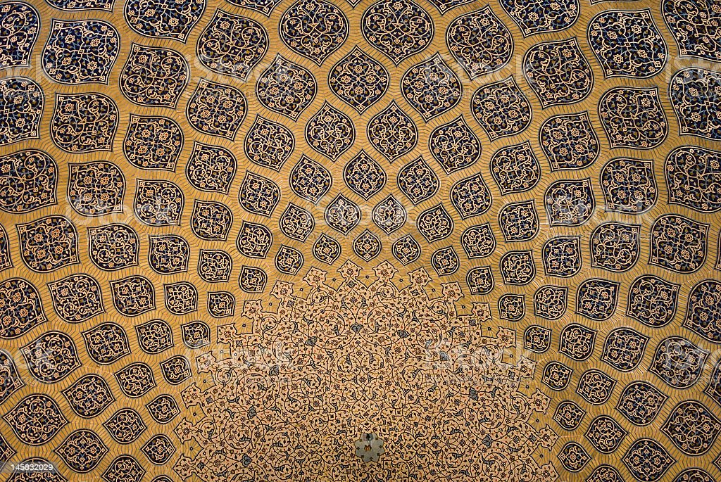 Done ceiling of a mosque in Isfahan, Iran stock photo