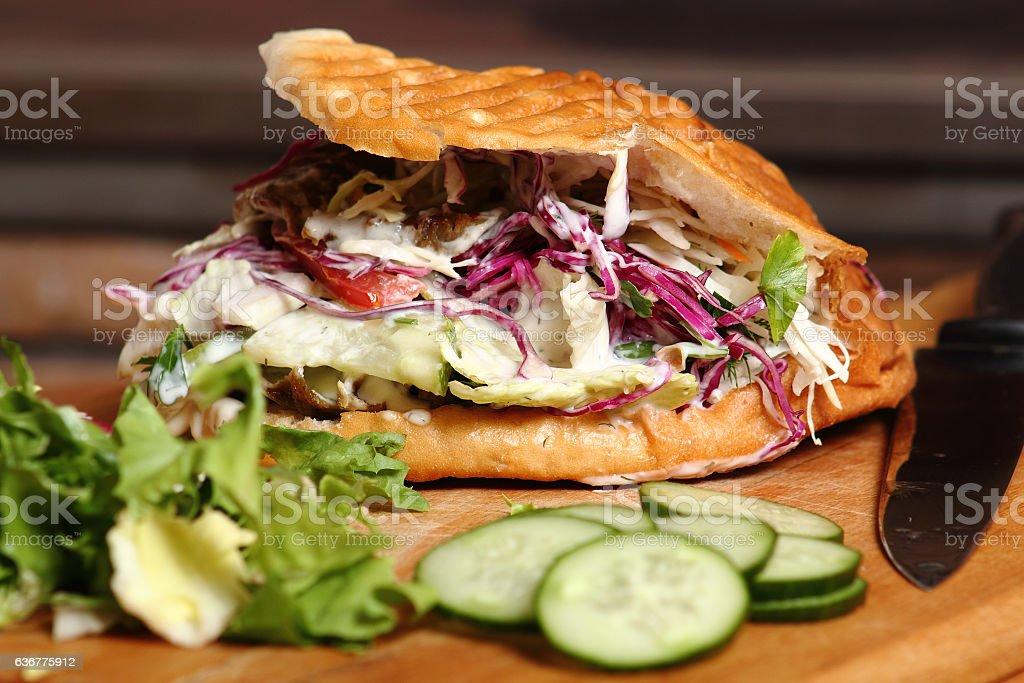 Doner kebab in pita. Shawarma. stock photo