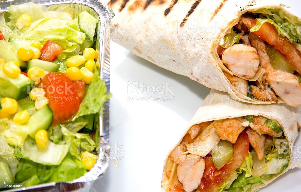 Doner kebap - Chicken Salad Sandwich Wrap royalty-free stock photo