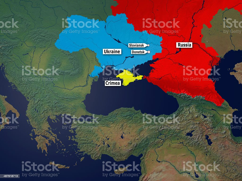 Donetsk and Sloviansk in the Crimean Crisis stock photo