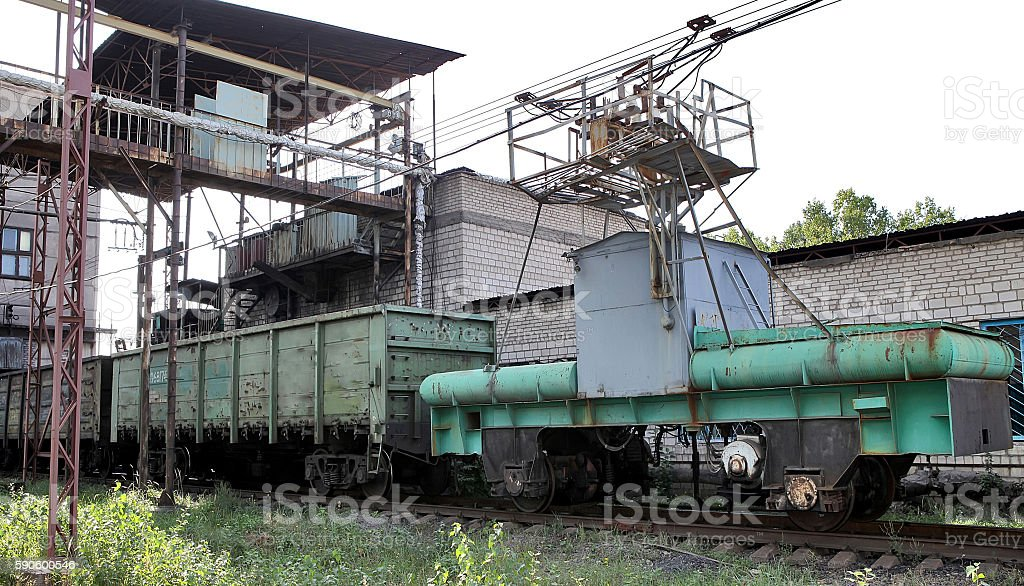 Donetsk coal unloading station. Boxcar with coal. CHP. Productio stock photo