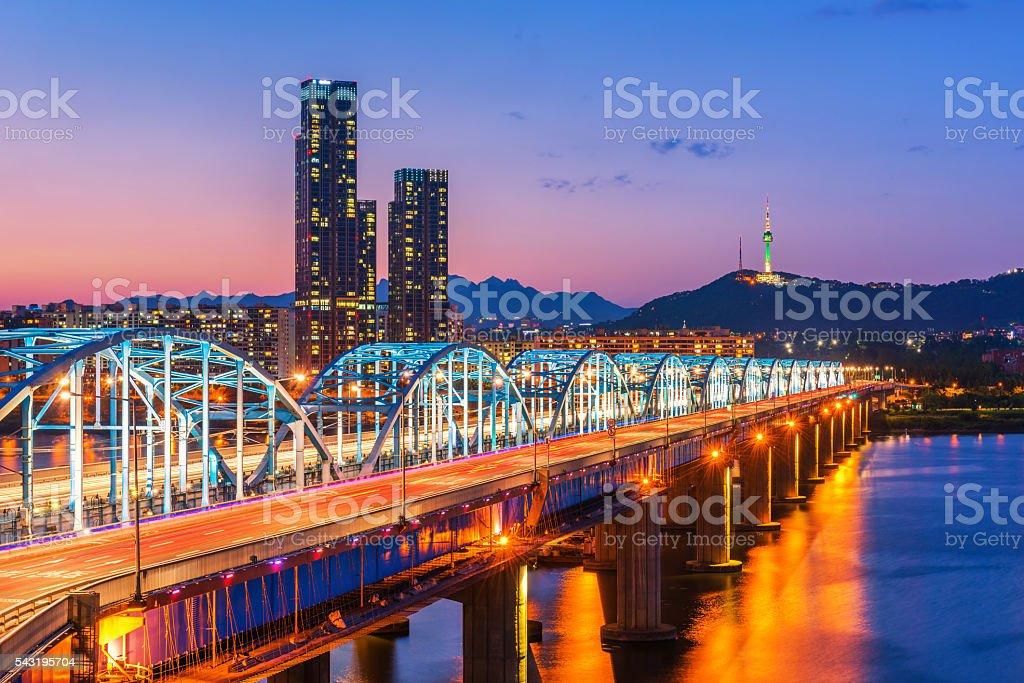 Dongjak Bridge Han river in Seoul , South Korea stock photo