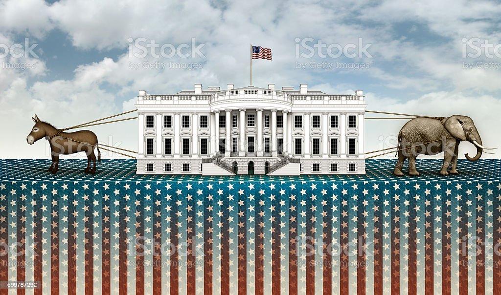 Donkey and Elephant Tug of War for the White House stock photo