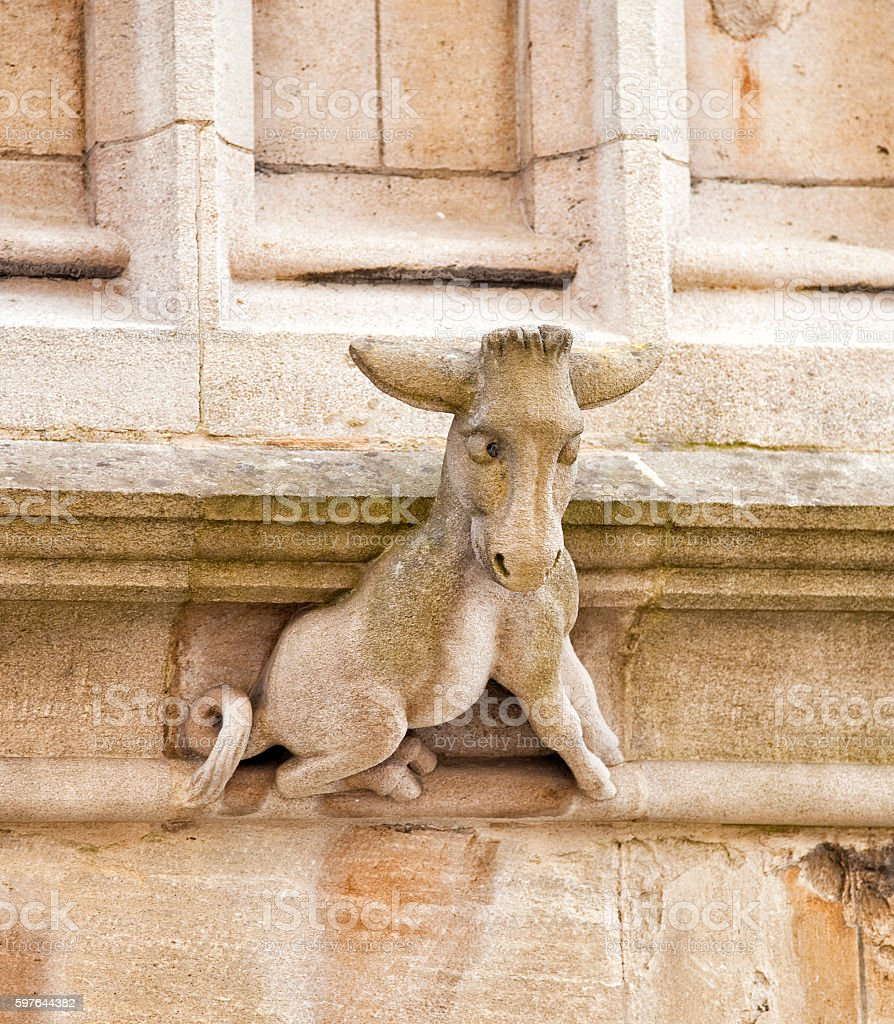 Donkey carved in Stone stock photo