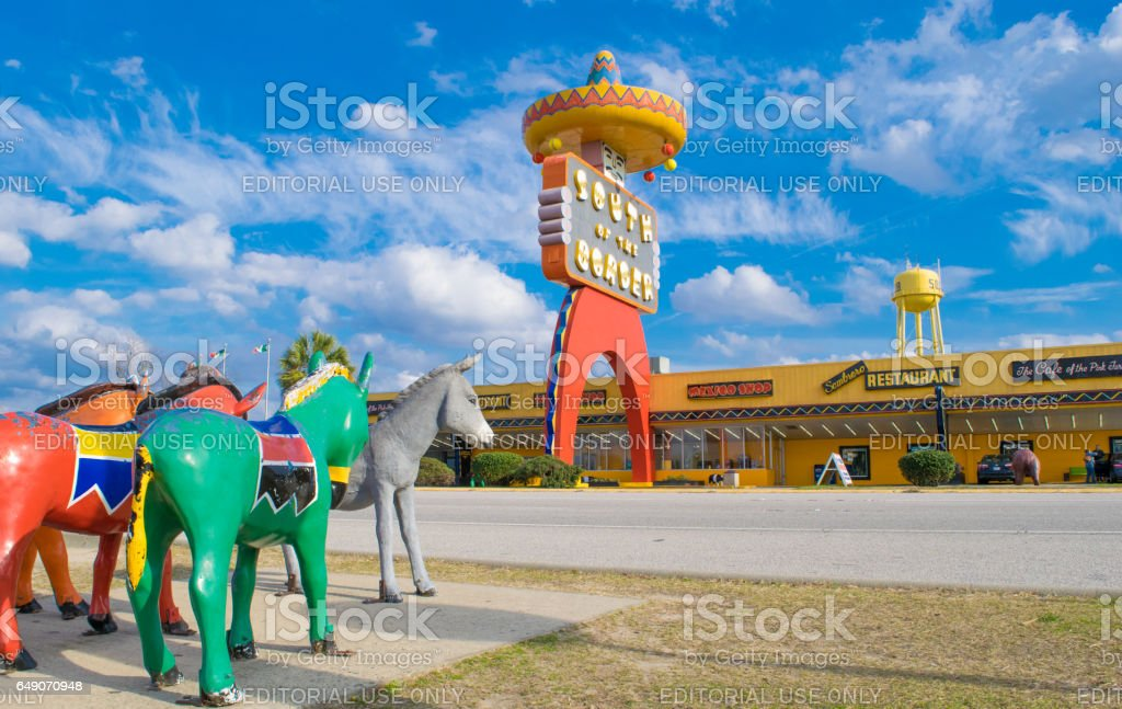 Donkey Statues at South of the Border Tourist attraction. stock photo